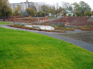 rolling hills & wandering trails circle the rain garden
