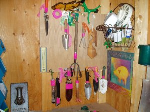 tools marked with pink tape & ribbon