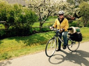 SVSeekins on garden bike, Victoria BC, Pacific Northwest