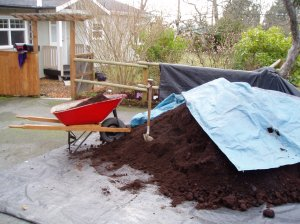 mulch pile on the driveway
