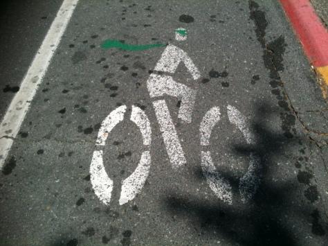bike lane cycling icon, public art, graffiti, Victoria BC,