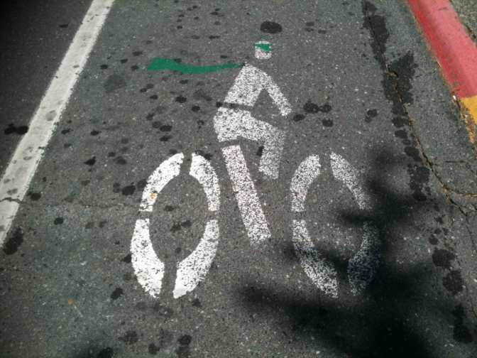 bike lane cycling icon, public art, graffiti, Victoria BC,