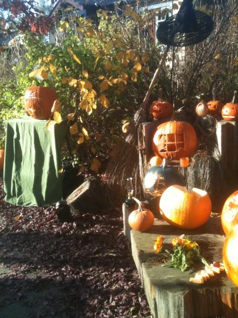 Halloween at Haultain Common, garden Victoria BC