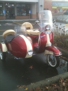 scooter with side car front Vespa Victoria BC