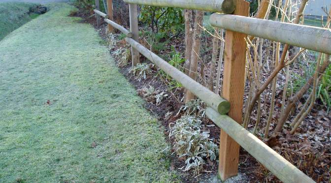 the frosty fence line in January, garden Victoria BC Pacific Northwest