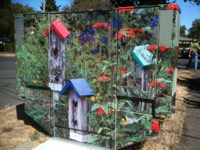 utility box wrapped with birdhouse photo garden Vicotria BC Pacific Northwest