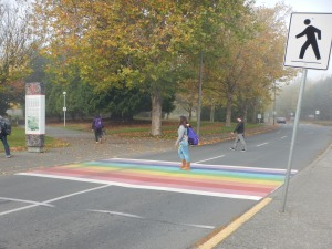 rainbow crosswalk, University of Victoria, Victoria BC pacific northwest