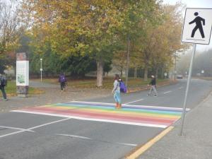 rainbow crosswalk, University of Victoria, Victoria BC pacific northwest