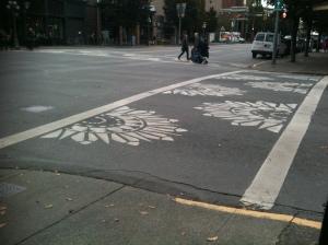 decorative crosswalk, Blancshard & Fort Street, Victoria BC pacific northwest