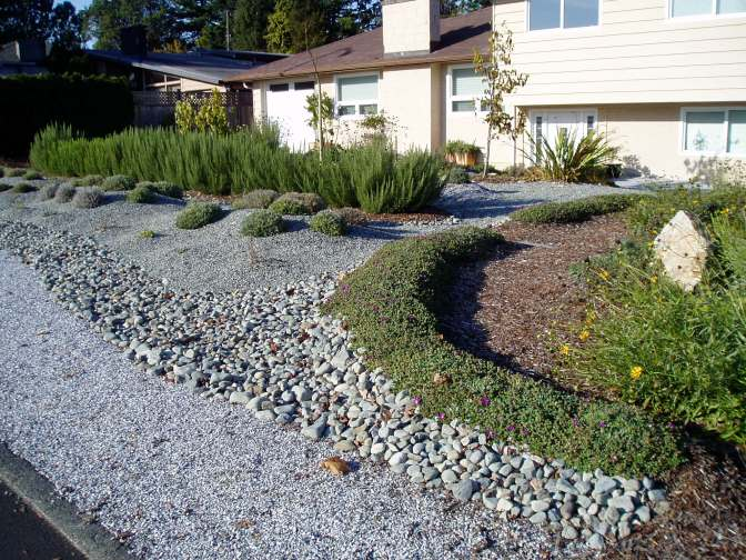 stone rock mulch in Gordonhead, garden Victoria BC Pacific Northwest