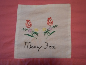 embroidery by Mary Fox, Silver Valley Ladies Club Canadian Centennial Friendship Bedspread