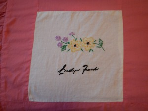 embroidery by Evelyn Frank, Silver Valley Ladies Club Canadian Centennial Friendship Bedspread