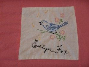embroidery by Evelyn Fox, Silver Valley Ladies Club Canadian Centennial Friendship Bedspread