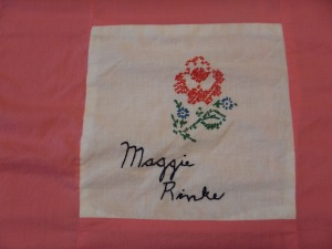 embroidery by Maggie Rinke, Silver Valley Ladies Club Canadian Centennial Friendship Bedspread