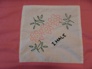 embroidery by Irene Hale, Silver Valley Ladies Club Canadian Centennial Friendship Bedspread