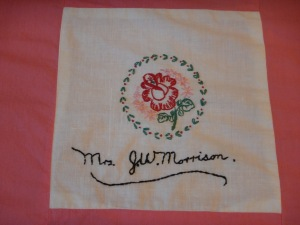 embroidery by Astrid Morrison, Silver Valley Ladies Club Canadian Centennial Friendship Bedspread