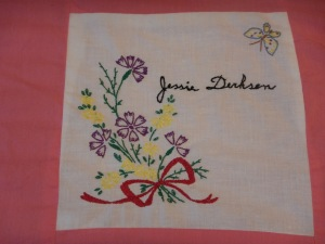 embroidery by Jessie Derksen, Silver Valley Ladies Club Canadian Centennial Friendship Bedspread