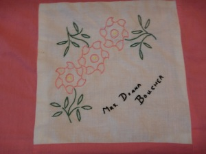 embroidery by Donna Boucher, Silver Valley Ladies Club Canadian Centennial Friendship Bedspread