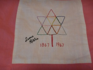 embroidery by Leona Ritchie, Silver Valley Ladies Club Canadian Centennial Friendship Bedspread