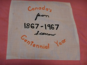 embroidery by Jean Scarrow, Silver Valley Ladies Club Canadian Centennial Friendship Bedspread