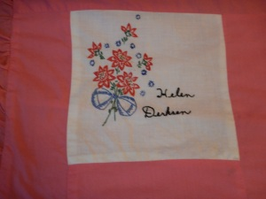 embroidery by Helen Derksen, Silver Valley Ladies Club Canadian Centennial Friendship Bedspread