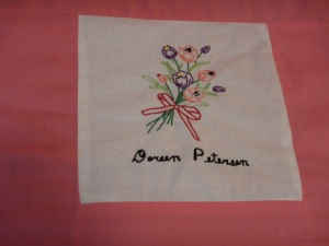 embroidery by Doreen Petersen, Silver Valley Ladies Club Canadian Centennial Friendship Bedspread
