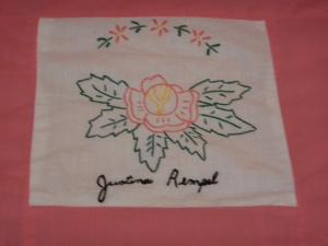 embroidery by Justine Remple, Silver Valley Ladies Club Canadian Centennial Friendship Bedspread