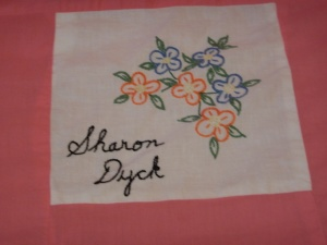 embroidery by Sharon Dyck, Silver Valley Ladies Club Canadian Centennial Friendship Bedspread