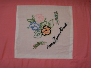 embroidery by Jantje van Norel, Silver Valley Ladies Club Canadian Centennial Friendship Bedspread