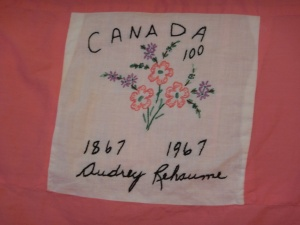 embroidery by Audrey Rehaume, Silver Valley Ladies Club Canadian Centennial Friendship Bedspread