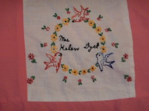embroidery by Helen Dyck, Silver Valley Ladies Club Canadian Centennial Friendship Bedspread