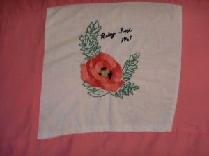 embroidery by Ruby Fox, Silver Valley Ladies Club Canadian Centennial Friendship Bedspread