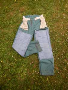 Logger pants - viewed inside out,, pants with padding over thigh and knee, knee protectors, garden knee pads review, garden Victoria, Vancouver Island, BC Pacific Northwest